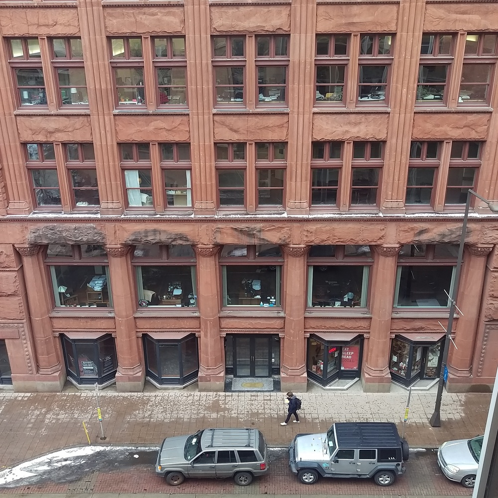 The St. Paul Building at 5th and Wabasha was constructed in 1889. With gorgeous red stone, and the original terrazzo flooring, this space offers a beautiful home for a bookstore that has a knack for landing itself in historic places.
