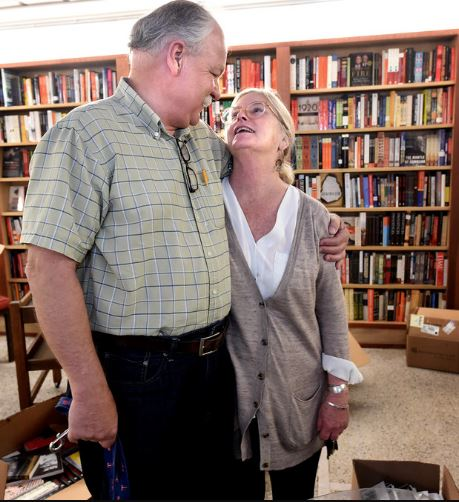 Sue Zumberge, owner of SubText bookstore, and her husband, Gary. June 10, 2015. (Pioneer Press: Jean Pieri)