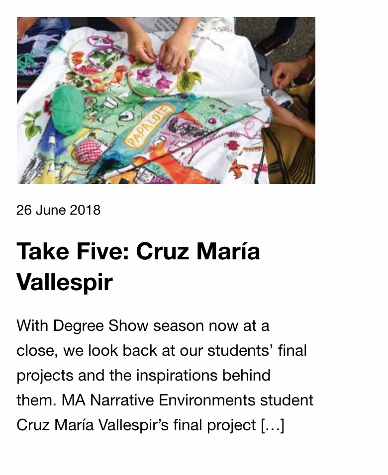 Central Saint Martins Blog about my project  MI CASA  read  here .