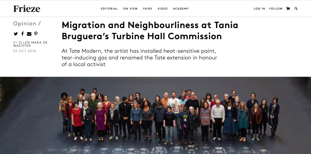 I will be participating as a facilitator in Tania Bruguera's Tate Exchange month in Tate Modern called ' OUR NEIGHBOURS' .  As said in Tate Exchange Website:   Drop-in, meet your Neighbours and commit to collective, neighbourly action at Tate Exchange. As part of the    Hyundai Commission: Tania Bruguera – 10,143,075   , Tania Bruguera will be in residency at Tate Exchange for the month of October. Bruguera is also Tate Exchange's Lead Artist for its 2018-19 activity year, which is inspired by the theme of 'movement'. Her residency at Tate Exchange addresses not just the physical movement of people, but the emotional journey from the far away and unknown 'other' to the close-by neighbour. Drawing on the 'Terms and Conditions' document written by the Tate Neighbours, which can be accessed when logging on to the Tate WiFi network, Our Neighbours asks visitors to Tate Modern to actively engage with the lives of our neighbours and to commit to a neighbourly action wherever they have come from or where they live now. The programme seeks to revive collective social responsibility and common purpose through deliberation and public commitments.