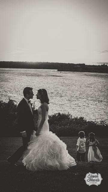 water front bride and groom