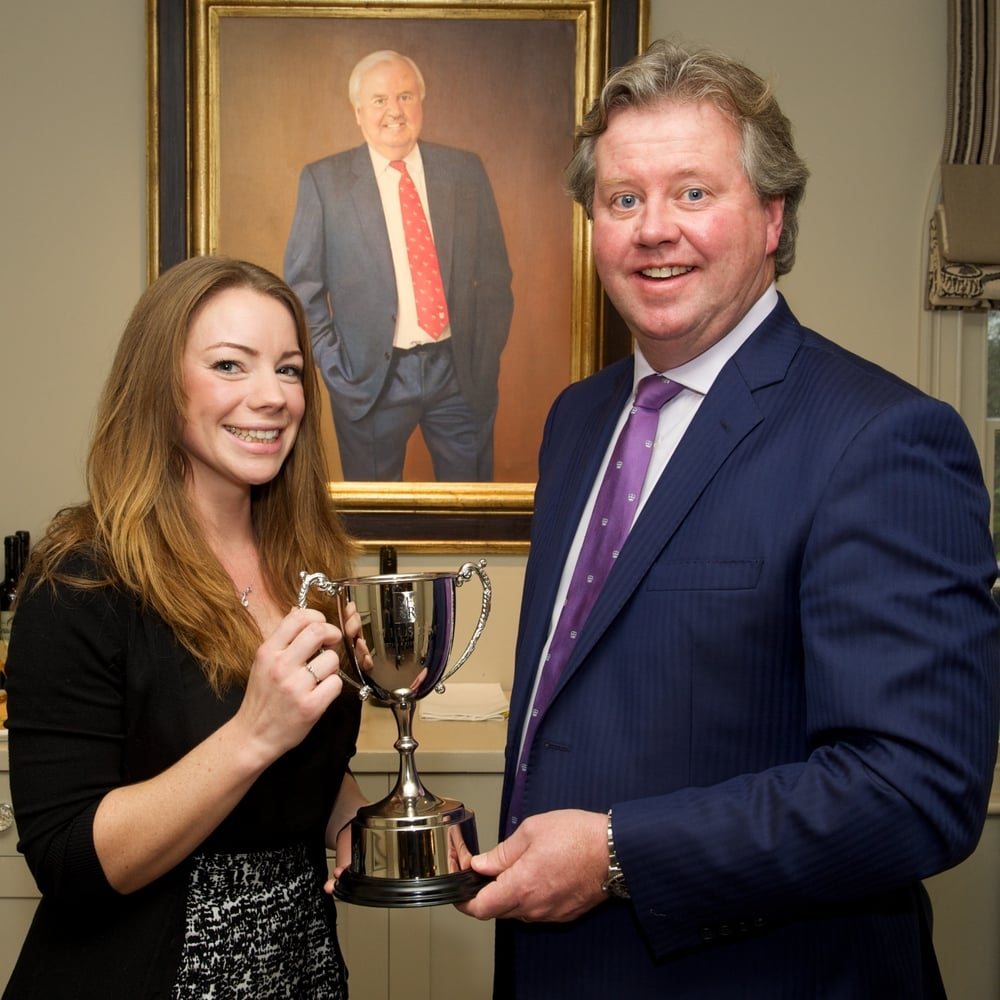 Sarah Cole receiving her award from Milsom Hotels & Restaurants' managing Director Paul Milsom