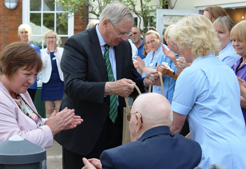 Carole Smith head of home, left, with HRH Duke of Gloucester, meeting staff and residents 2015.jpg
