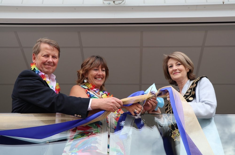 L-RTelevision Presenter Bill Turnbull, Tikkii Mawson Commodore of Aldeburgh Yacht Club and Cllr JocelynBond, Mayor of Aldeburgh.