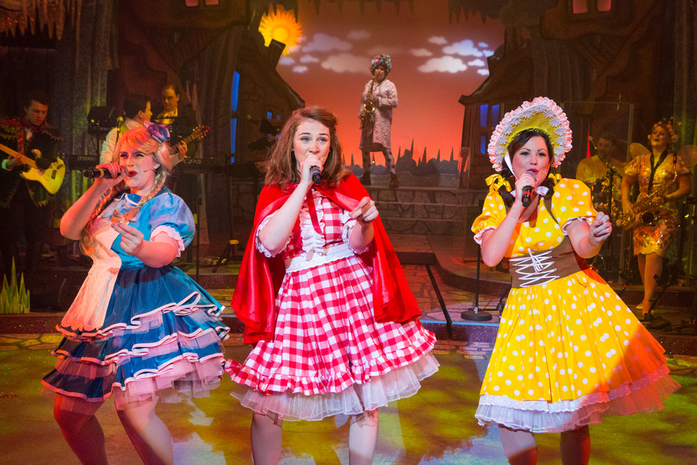 Lana Walker as Goldilocks, Lucy Wells as Red Riding Hood and Isobel Bates as Bo Peep. Red Riding Hood at the New Wolsey Theatre. Photo Mike Kwasniak.jpg
