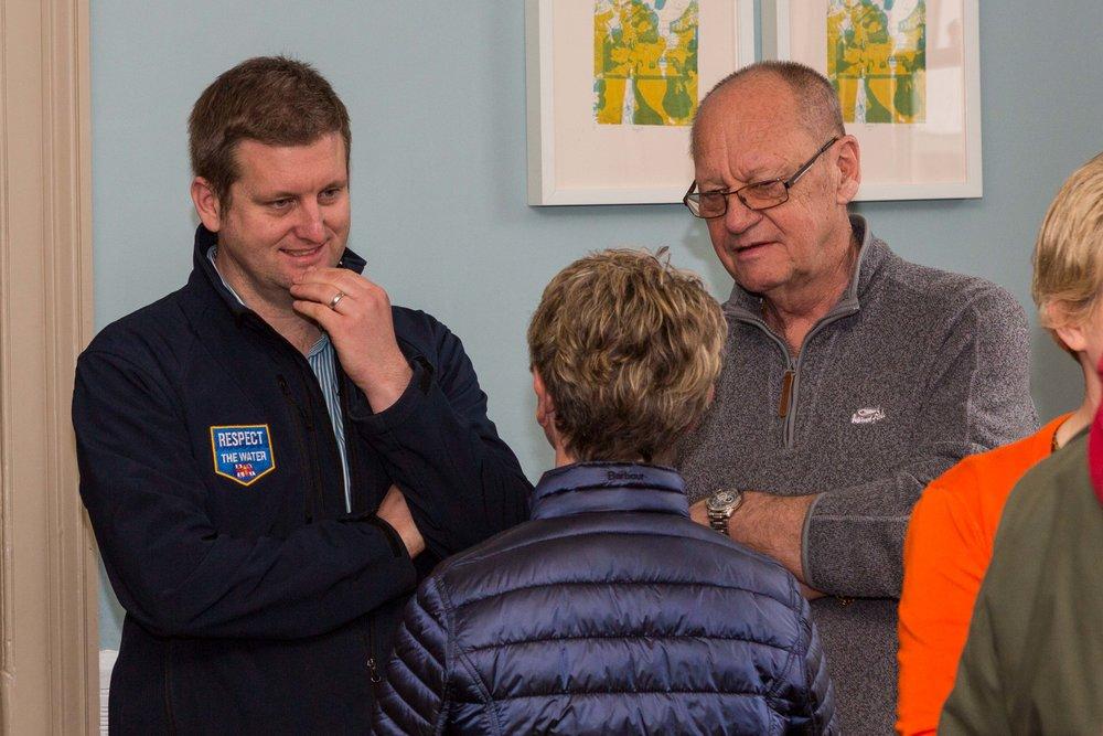 Ian Goddard (RNLI), Colin Dennison Sax Music Fest talking to Lin Barnes Christies Care.JPG