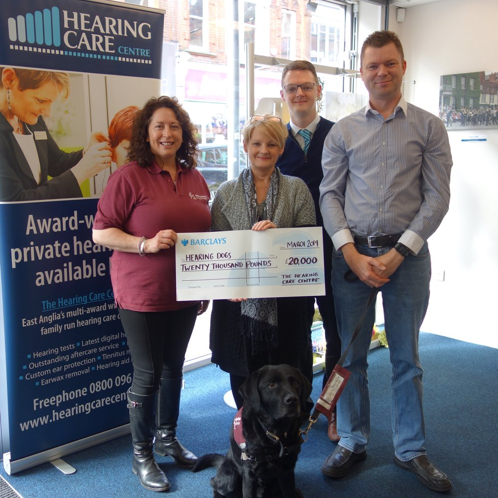 (From left to right) Rachel Clarke – Hearing Dogs' Community Fundraising Manager for East Anglia, Karen Finch - Founder and Managing Director of The Hearing Care Centre, Matthew Coward – Marketing and Operations Manager for The Hearing Care Centre & Brian Platt - Hearing Dogs Deaf Recipient with Hearing Dog Elton