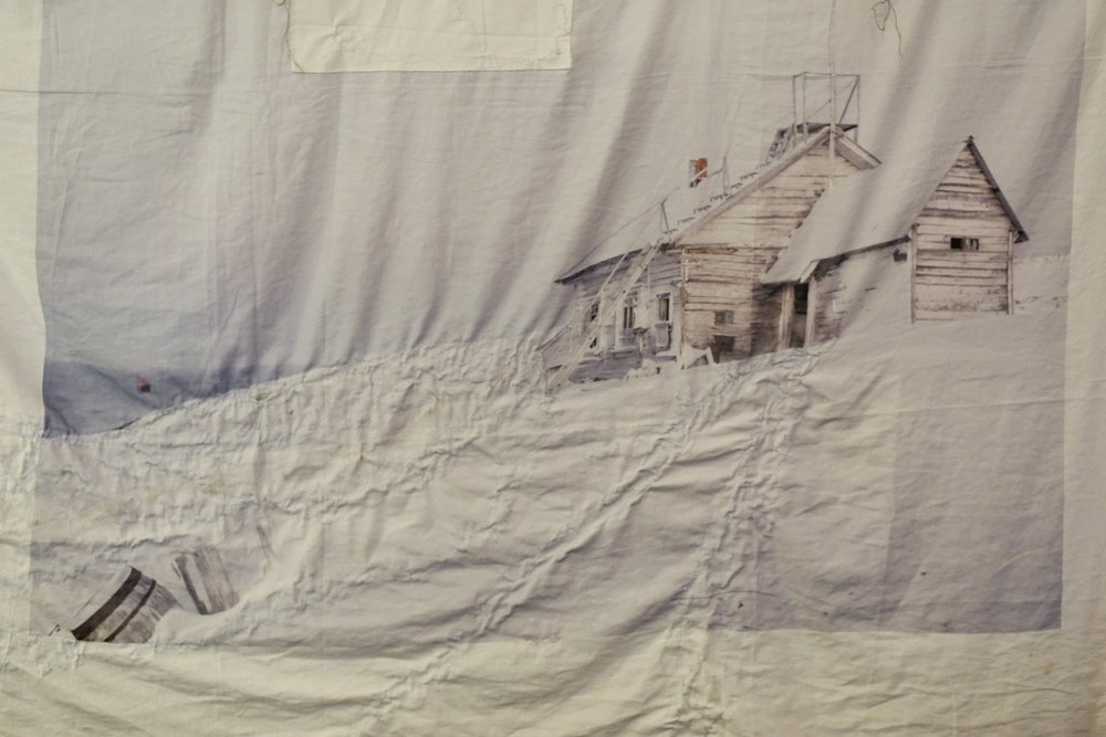 embroidered bed sheets with the Arctic Explorer's dreams