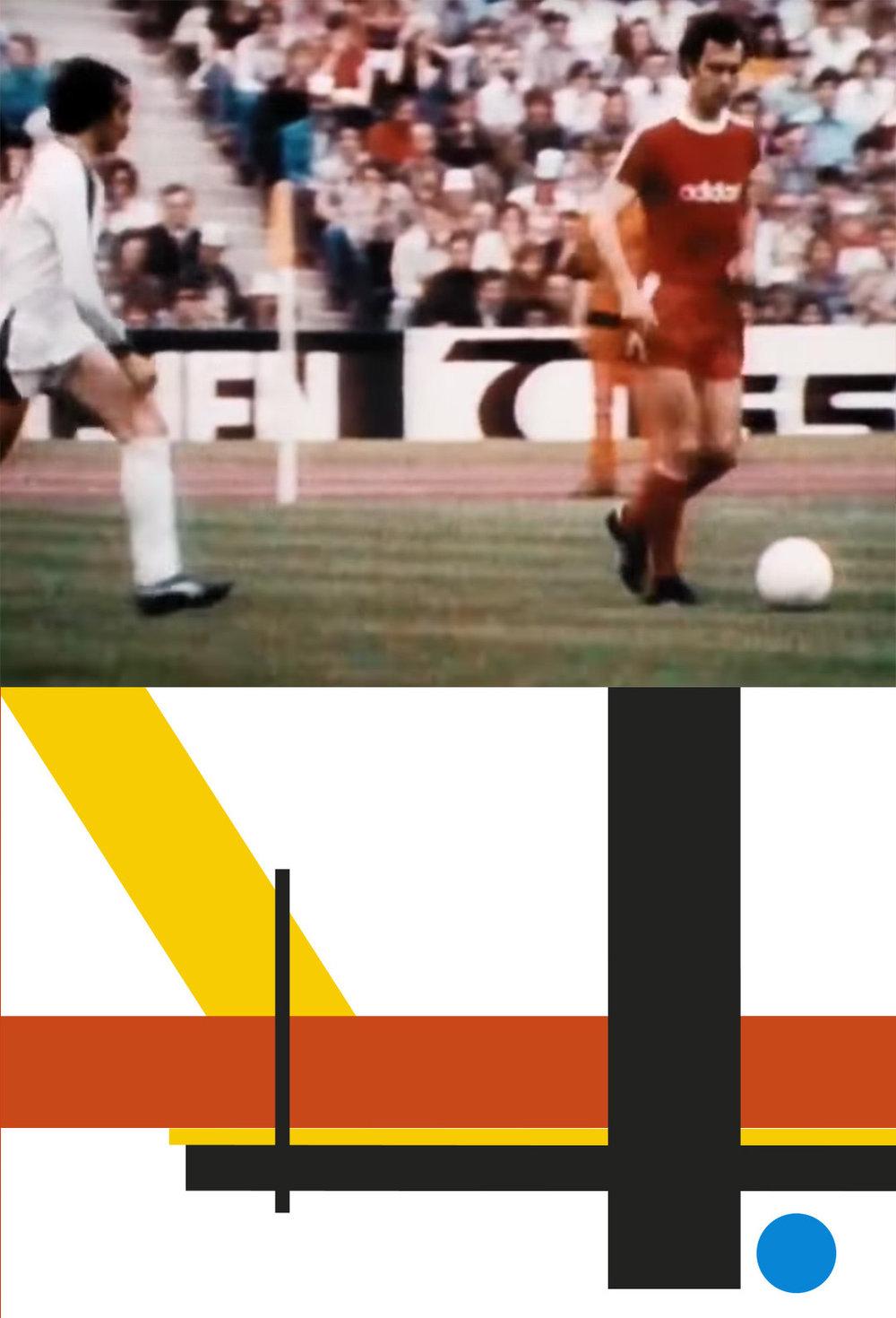 Beckenbauers elegant composed posture mirrors Bauhaus geometric design