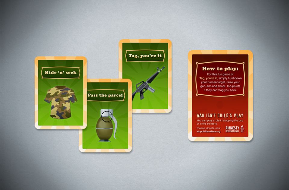 Amnesty International ,  'War isn't child's play'  – game card DM