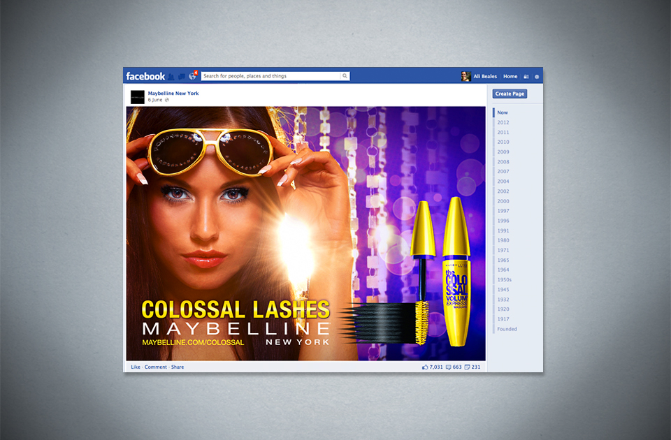 Maybelline mascara ,  'Colossal Lashes'  – Facebook content