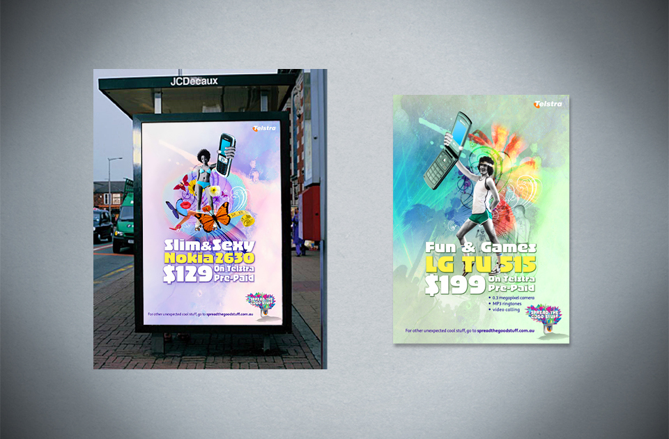 Telstra ,  'More fun with prepaid'  – bus shelter poster and magazine ad