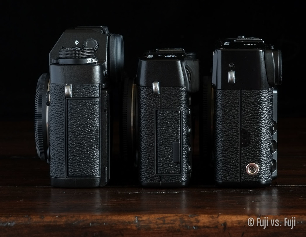 The Fujifilm X-T1, X-E2, and X-Pro1
