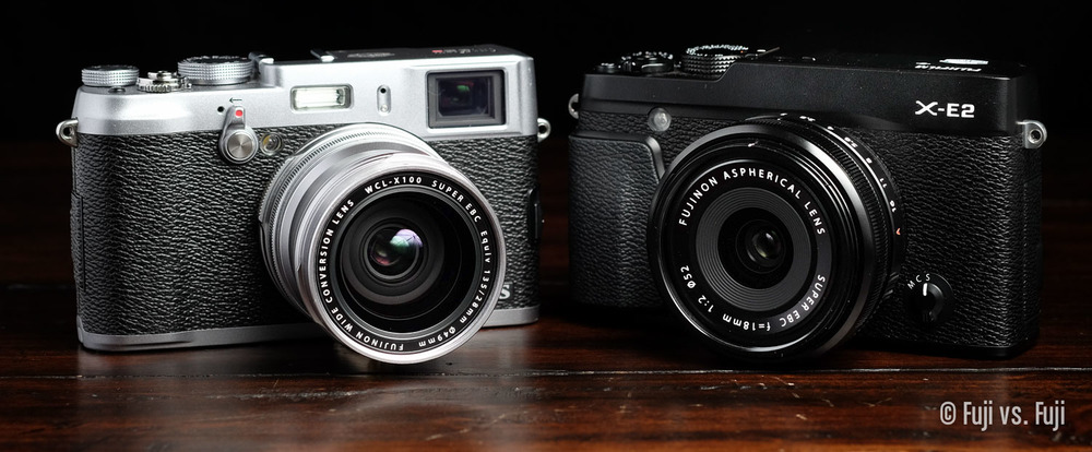 The X100S with WCL-X100 and the X-E2 with 18mm f/2