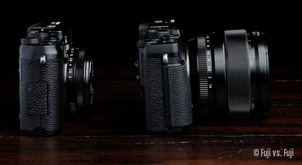The 23mm f/1.4 is large enough that it doesn't let an X-E camera sit flat. It's also enormous next to the X100S.