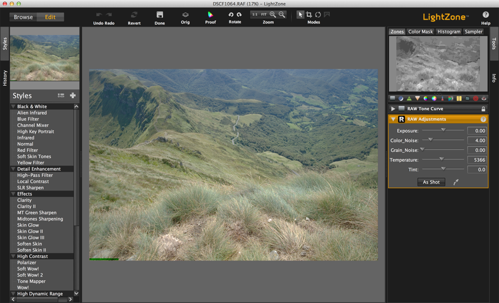 Editing in LightZone