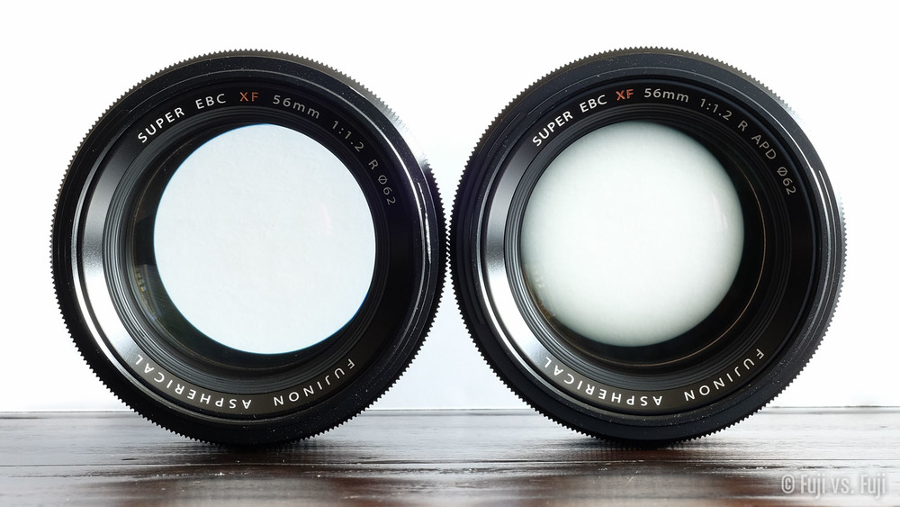 The 56mm f/1.2 left, and the 56mm f/1.2 APD right