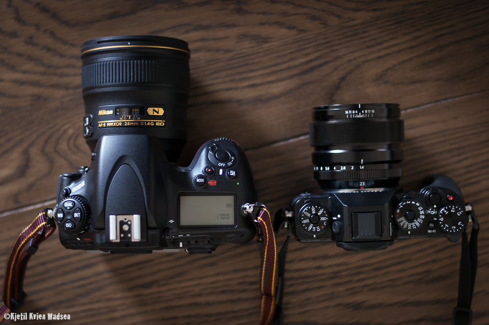 A friendly reminder from Kjetil Kvien Madsen how much smaller our X-T1's are compared to DSLRs.