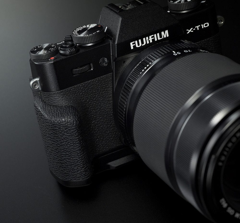 Fuji's X-T10 with MHG-XT10 hand grip – Image courtesy of Fujifilm Canada