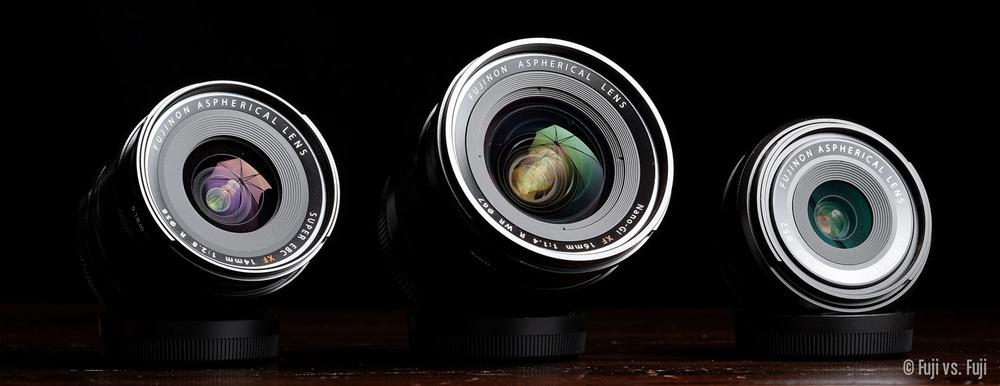 Fuji Fujifilm XF 14mm f2pt8 XF 16mm f1pt4 WR XF 18mm f2.jpg