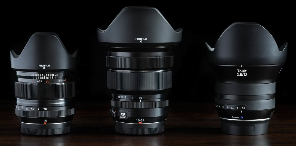 FUJI'S 14MM f/2.8 10-24MM f/4 ZOOM, And The Zeiss Touit 12mm f/2.8 WITH HOODS