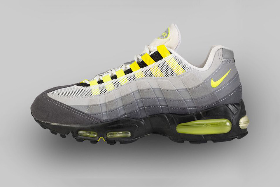 AIR MAX 95 (1995) For the AM95, designer Sergio Lozano drew inspiration from the human anatomy; specifically the spine ribs and tendons. Pops of Neon Yellow made these an instant classic.