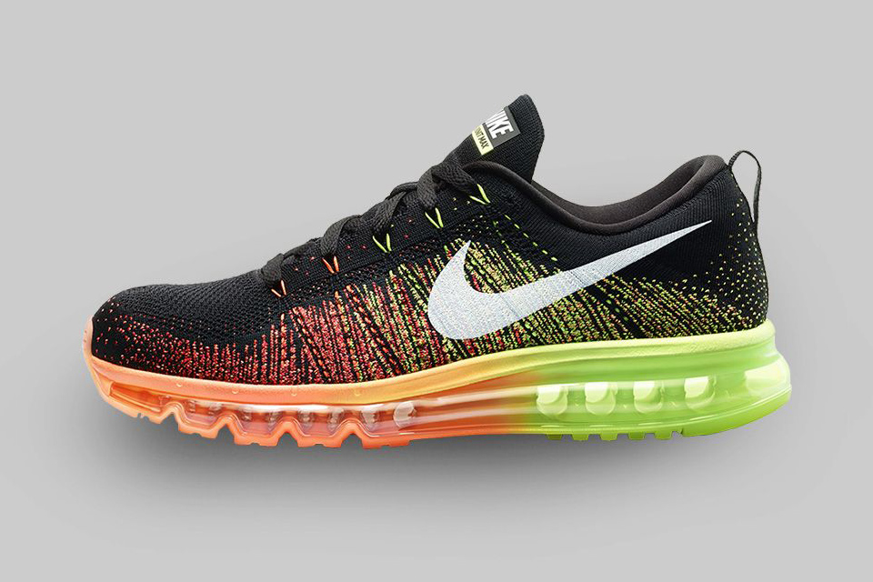 FLYKNIT AIR MAX (2014) Ultralight support meets maximum cushioning in the Nike Flyknit Air Max Men's Running Shoe,featuring the most flexible Max Air unit yet and a woven one-piece Flyknit upper.