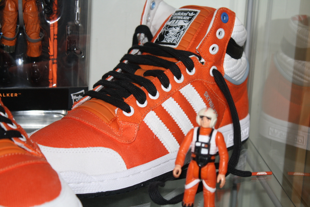 One of the best themed sneakers ever. Notice the details around the ankle/heel, and the different materials used.