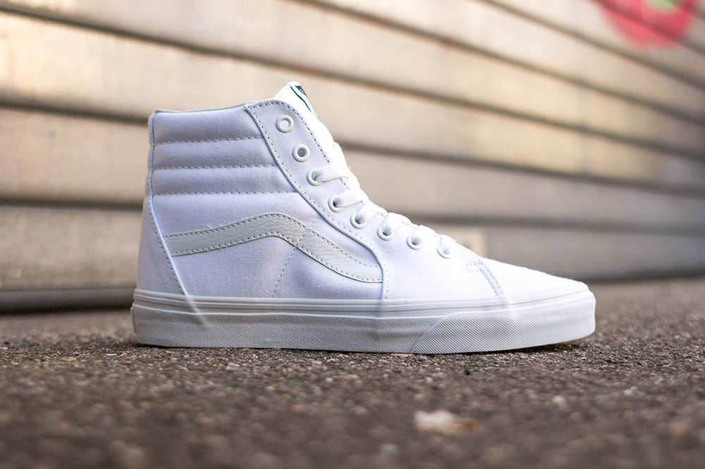 all white vans skate high