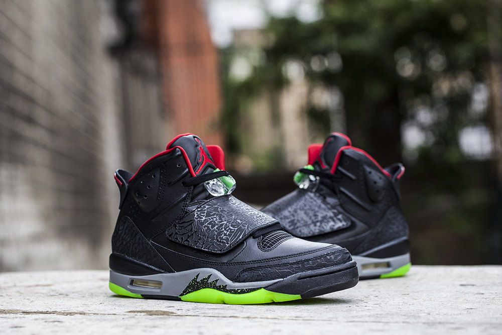 The Air Jordan Son of Mars Black Gym Red Green Pulse is due to be released  at selected retailers such as Footpatrol on August 12th. 32a666fe3f76