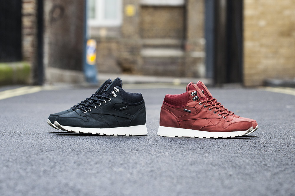 3c1b49c1a54 The Reebok Classic Leather Mid Goretex Black   Terra Red is now available  at selected retailers such as Footpatrol.