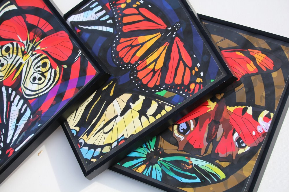 """Butterfly Effect Set""  3 piece Set 12x12in  Matte Archival paper"