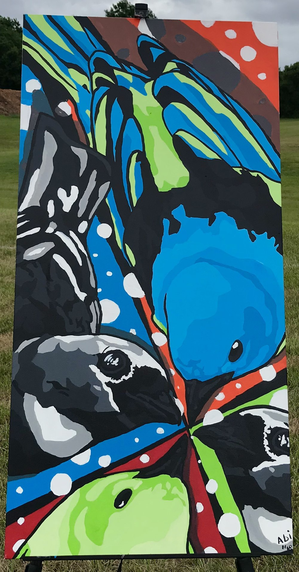 """Birds of paradise"" 24x 48in Canvas"