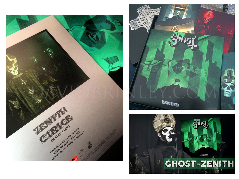"GHOST | Zenith | Meliora limited edition album box set    Acrylic on paper and digital  Official single 10"" vinyl cover  Reaktor Recordings Sweden  limited editoin of 5000 copies"