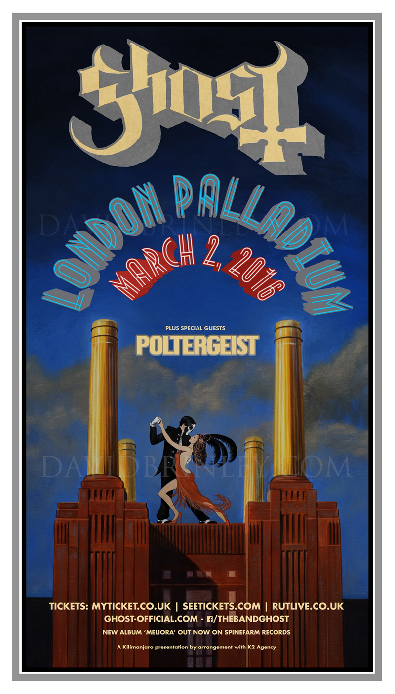 GHOST | London Palladium March 2, 2016   Acrylic on paper and digital  Official London Palladium concert promo poster