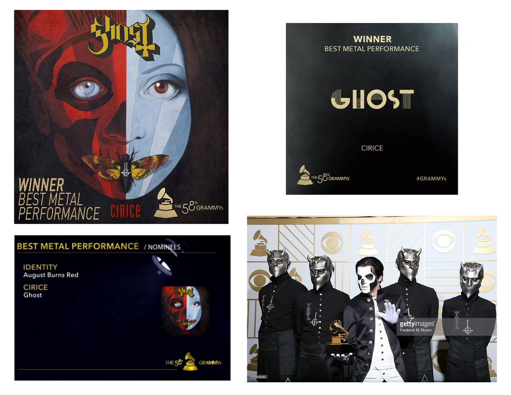 GHOST | Cirice    Acrylic on paper and digital  Official CD single cover  Loma Vista Recordings  2016 58th Annual GRAMMYs award winner: 'Best Metal Performance'   OFFICIAL VIDEO LINK