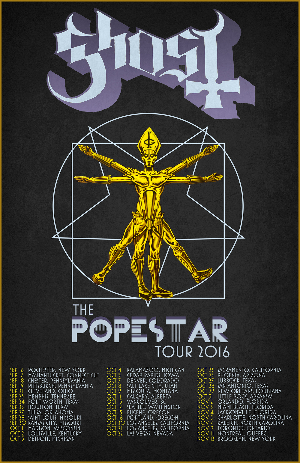 GHOST | Papa Vitruvius    The Popestar Tour 2016   Acrylic on paper and digital  Official promo poster