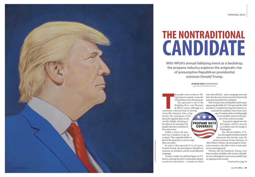 Donald Trump: The Nontraditional Candidate   | LPGas magazine July 2016 | What If? spread illustration