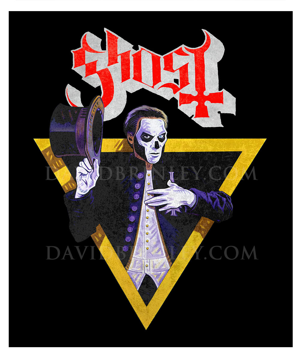 GHOST | The Popestar Tour 2016    Official limited edition VIP t-shirt    Acrylic on paper and digital