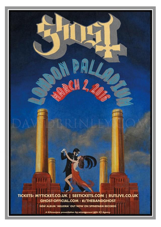 GHOST | London Palladium March 2, 2016   Acrylic on paper and digital  Official London Palladium concert promo postcard