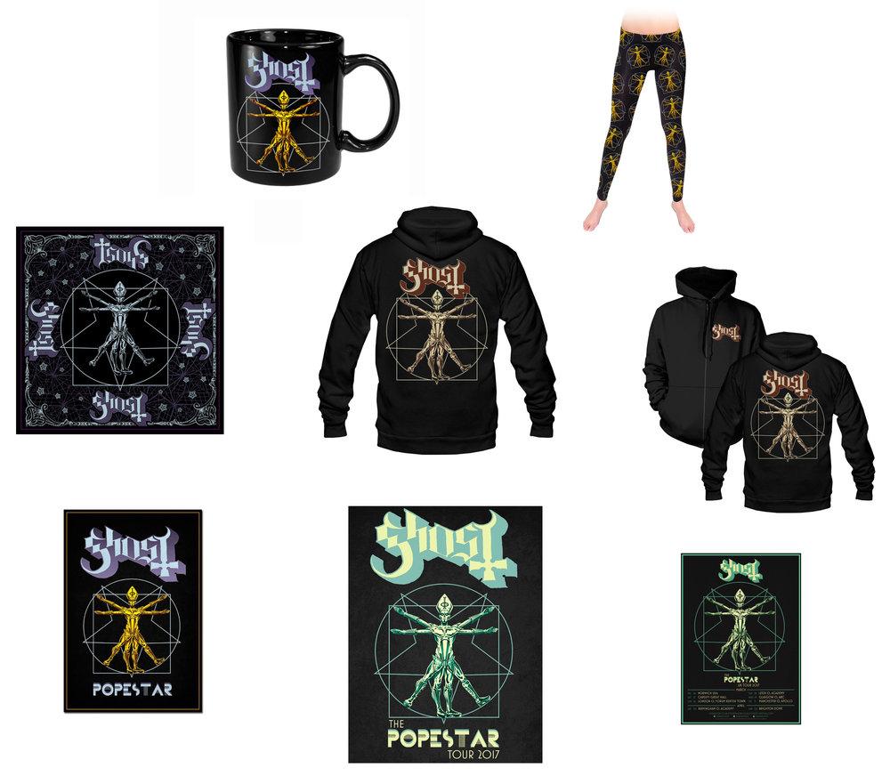 GHOST | Papa Vitruvius    The Popestar Tour 2016 / 2017   Official band Popestar Tour merch