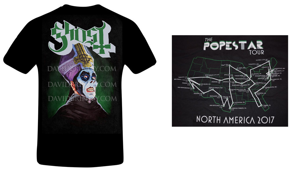 GHOST |Official 'Popera' t-shirt 2017    2017 Popestar USA/Iron Maiden Tour     Acrylic on paper and digital