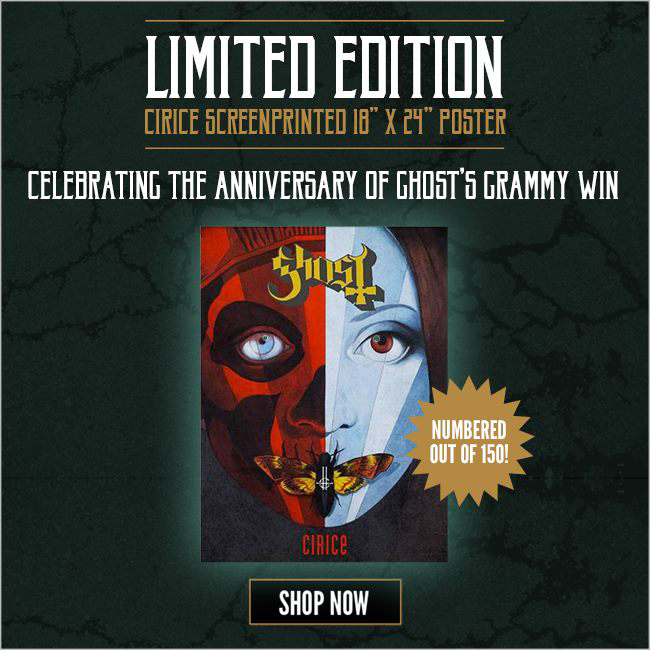 GHOST | Cirice   Acrylic on paper and digital  Official Anniversary Poster  2016 58th Annual GRAMMYs award winner:'Best Metal Performance'   OFFICIAL VIDEO LINK
