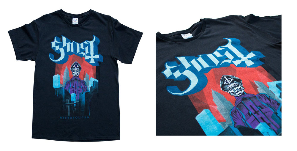 GHOST | Necropolitan    Acrylic on paper and digital   Official Meliora album launch exclusive T-shirt