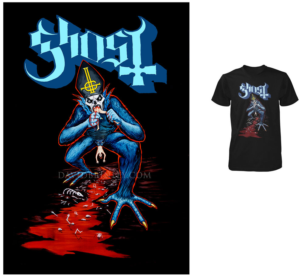 GHOST | The Devourer   Acrylic on paper and digital  Official Ghost exclusive T-shirt | 2017