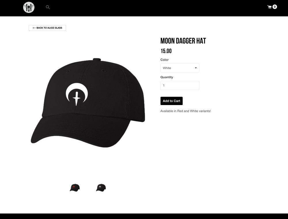 Alice Glass moondagger logomark design (2018 hat)   David M. Brinley Illustration