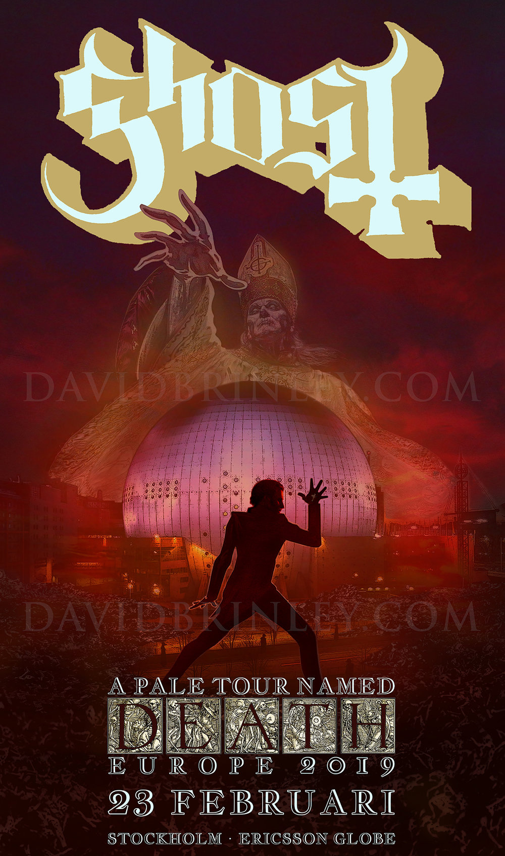 GHOST | Stockholm Sweden Ericsson Globe | February 23, 2019   A Pale Tour Named Death Official poster  David M. Brinley | Illustrator Designer  Acrylic and Digital