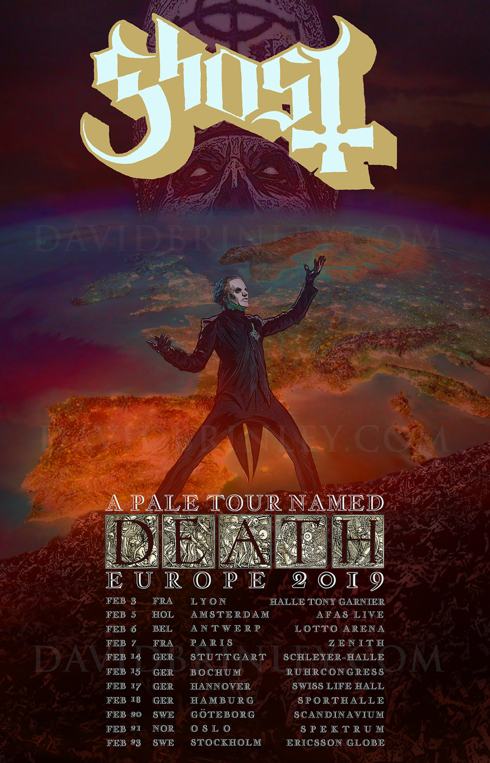 GHOST | A Pale Tour Named Death Official EU Tour poster    David M. Brinley | Illustrator Designer  Acrylic and Digital