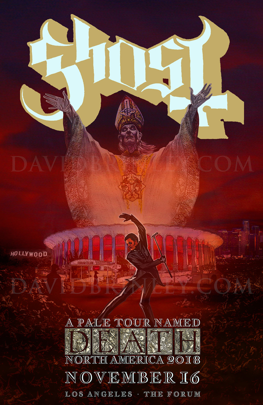 GHOST | Los Angeles Forum | November 16, 2018   A Pale Tour Named Death Official poster  David M. Brinley | Illustrator Designer  Acrylic and Digital