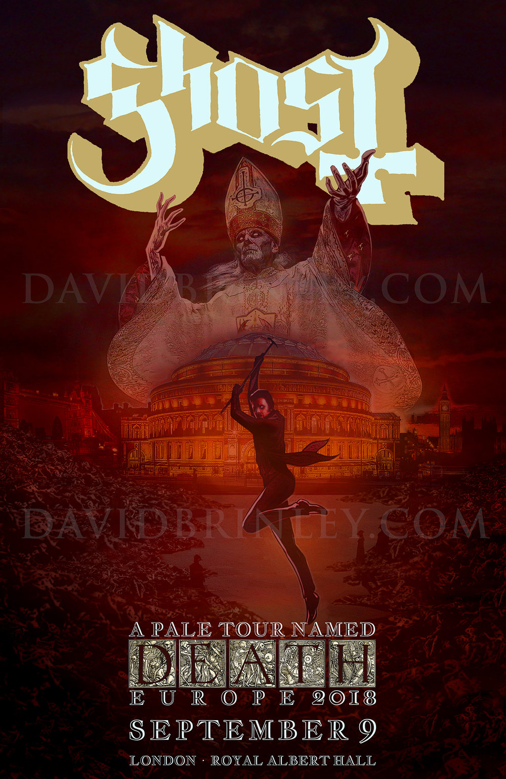 GHOST | Royal Albert Hall | September 9, 2018   A Pale Tour Named Death Official poster  David M. Brinley | Illustrator Designer  Acrylic and Digital